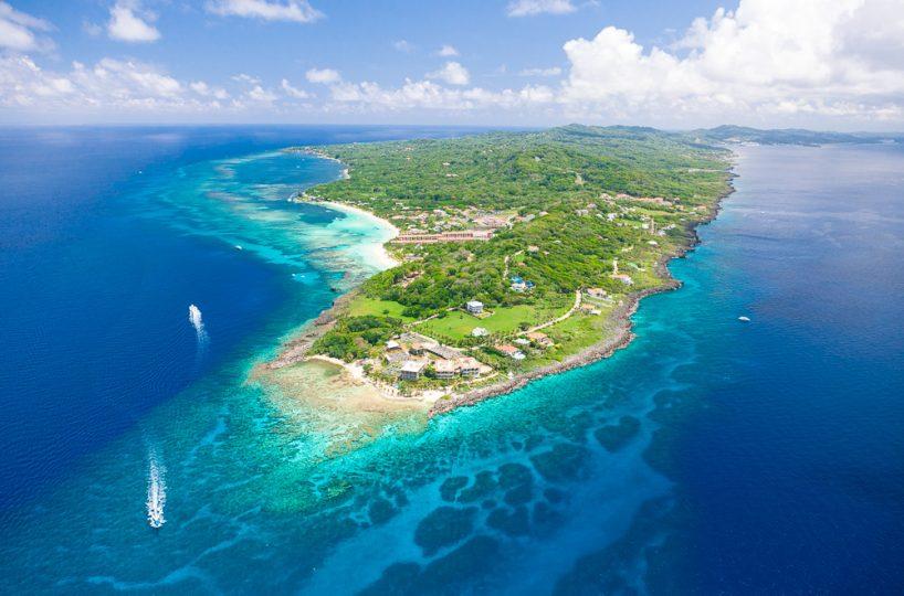Aerial view of the western tip of Roatan island in Honduras | Roatan Life Real Estate