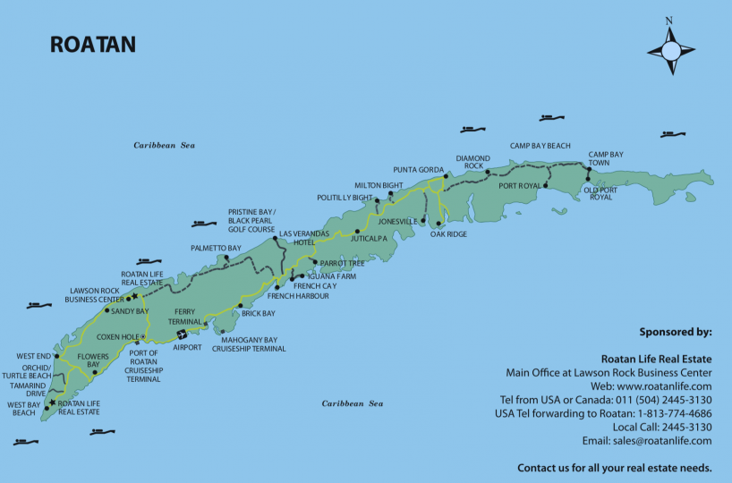 Map of Roatan island, part of Honduras | Roatan Life Real Estate