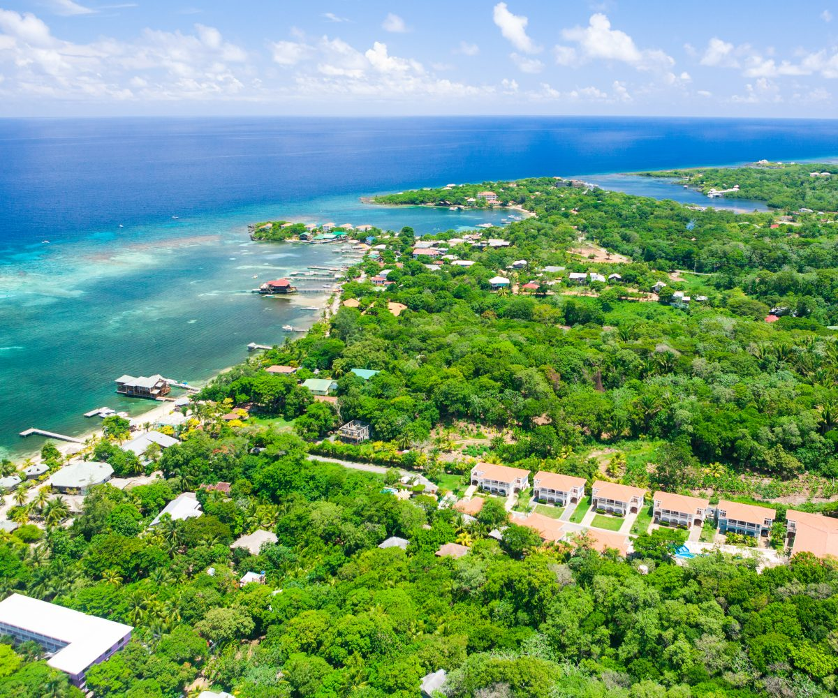 Aerial view of West End Roatan