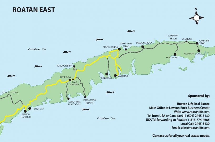 Map of the East End of Roatan