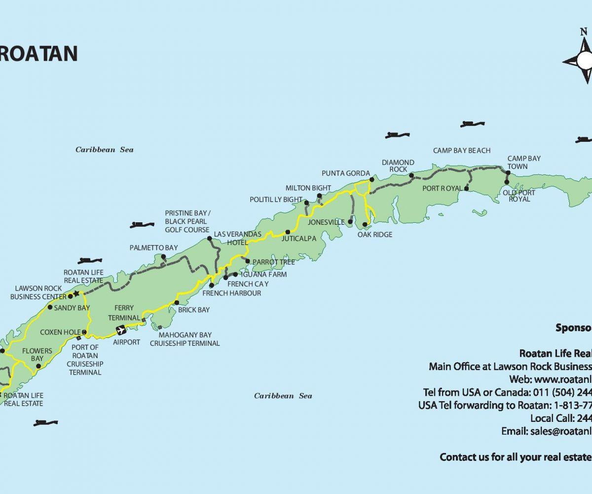Roatan island map from Roatan Life Real Estate