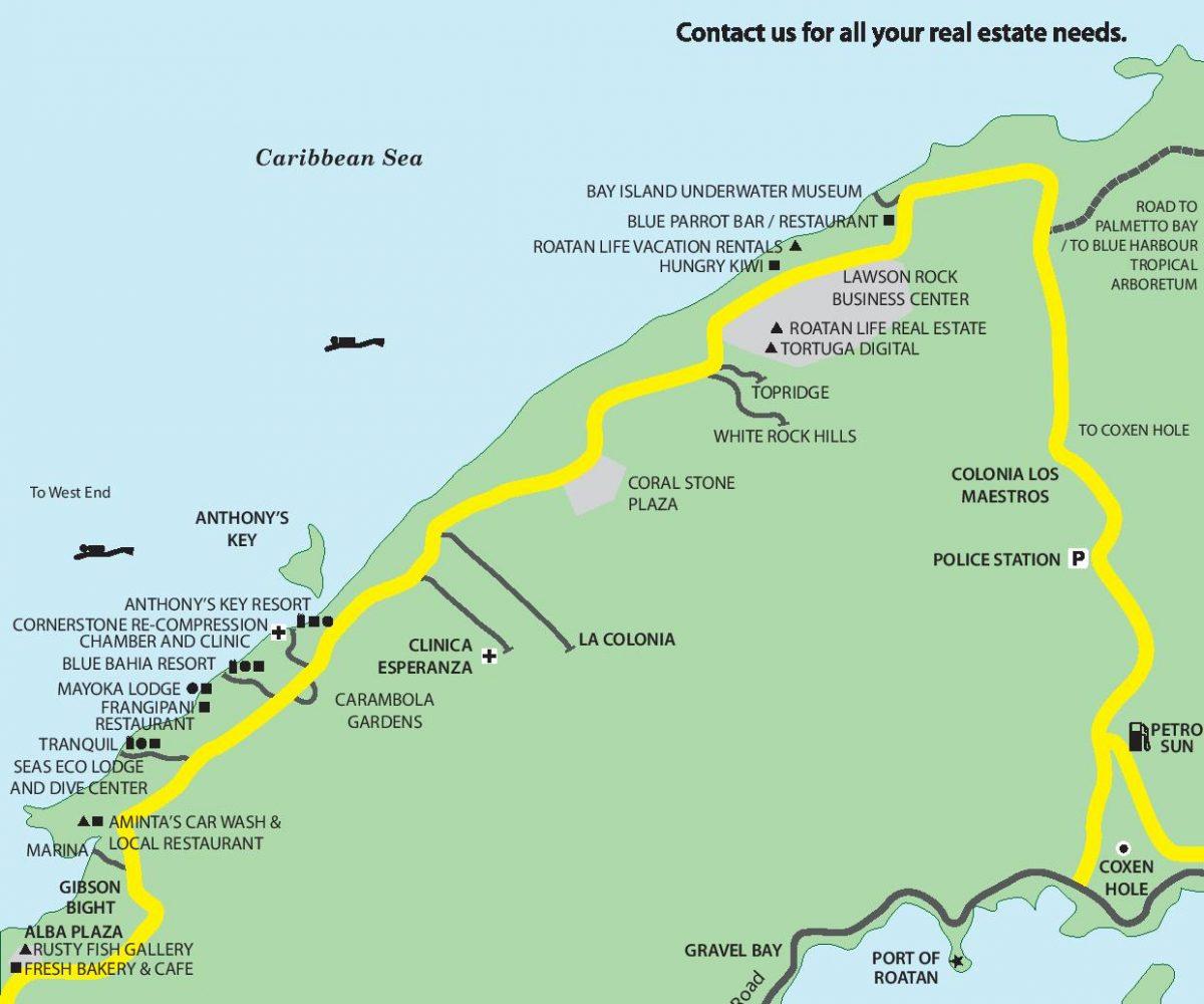 Map of Sandy Bay Roatan from Roatan Life Real Estate