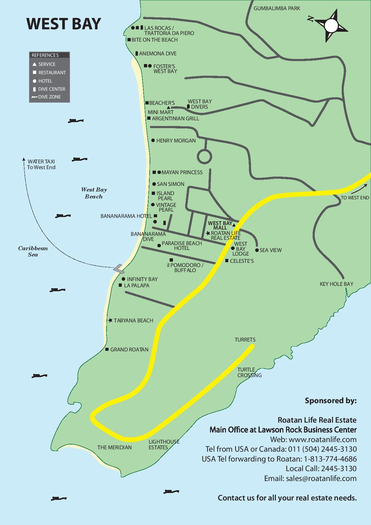 West Bay Roatan map from Roatan Life Real Estate