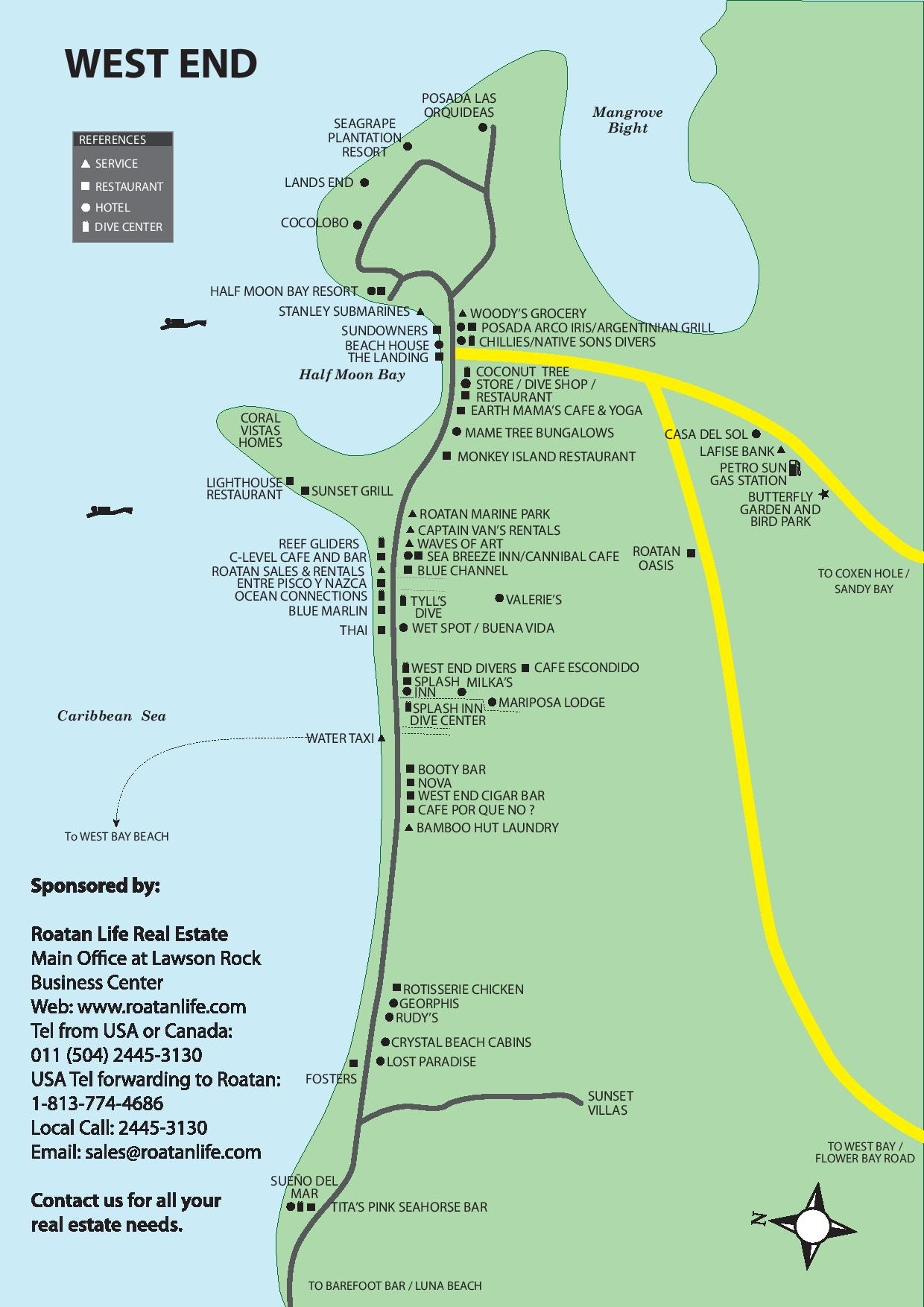 West End Roatan map from Roatan Life Real Estate