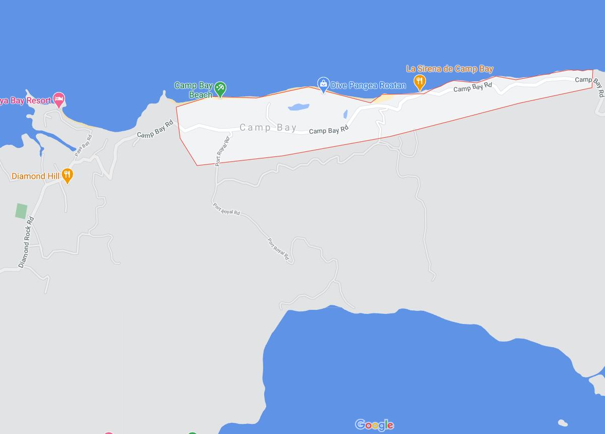 Map of Camp Bay Roatan