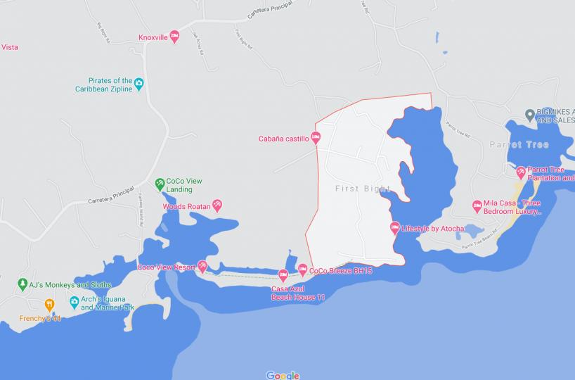 Map of First Bight Roatan