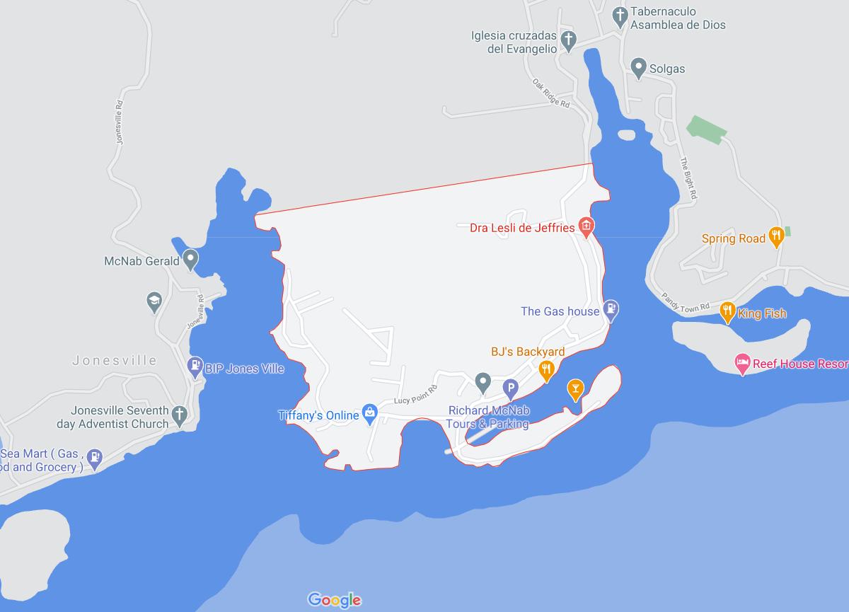 map of the Oak Ridge Roatan area