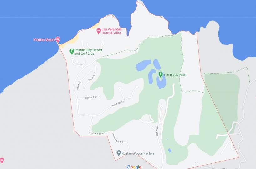 Map of Pristine Bay in Roatan