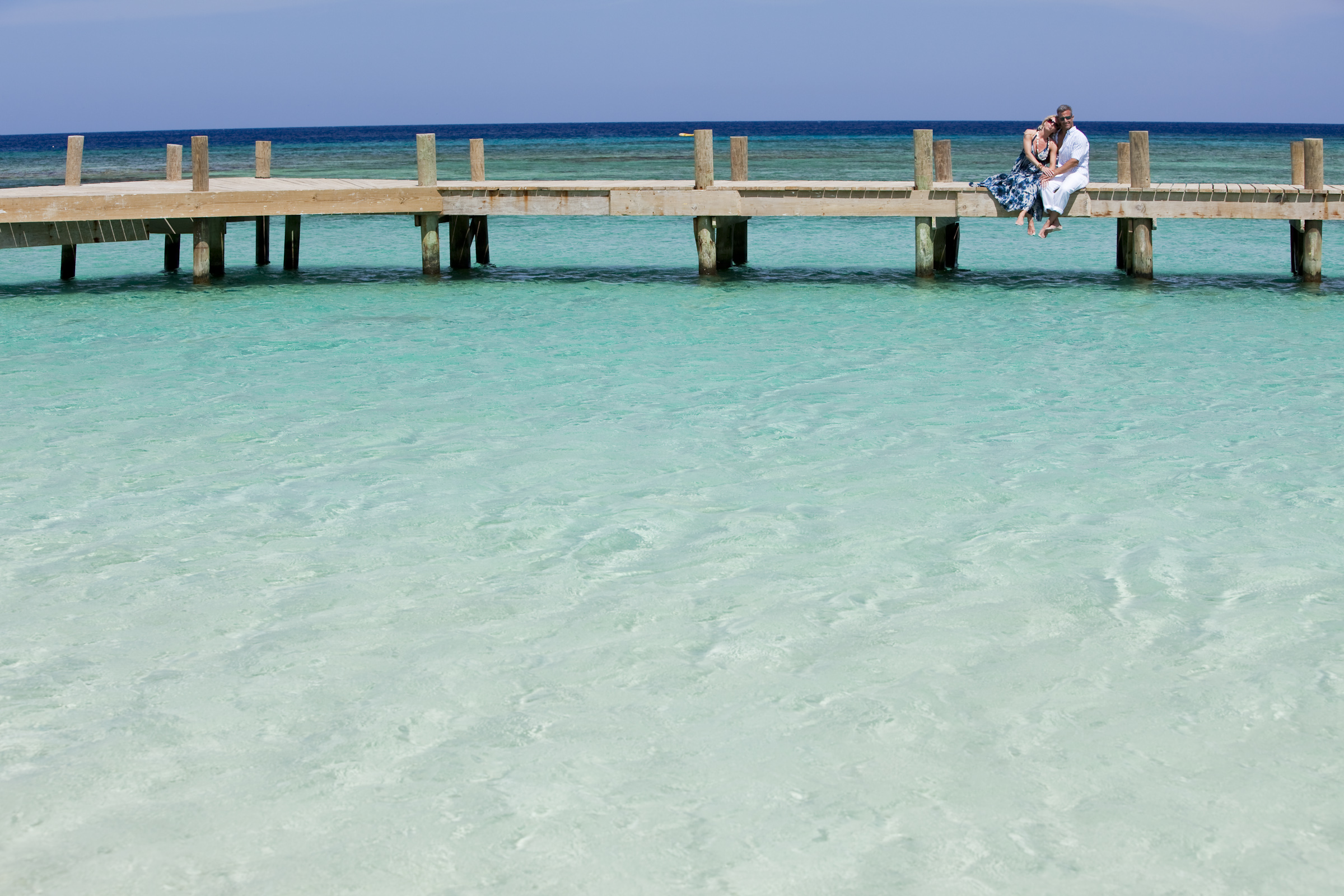 dock on clear water